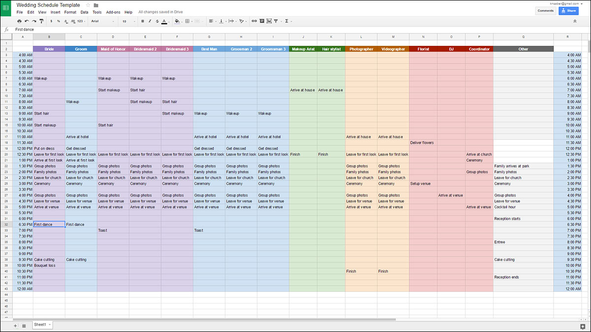 Wedding Schedule Templates I Wanna Marry - Google sheets schedule template
